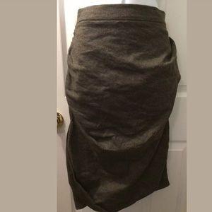 ALL SAINTS Louvre Skirt Oak Brown Wool Pencil Knit